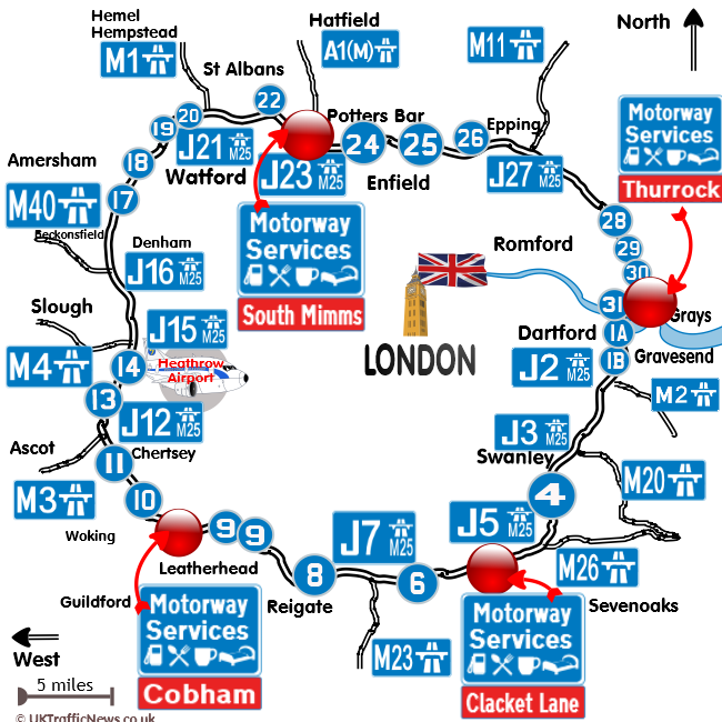 map of the M25 motorways service locations