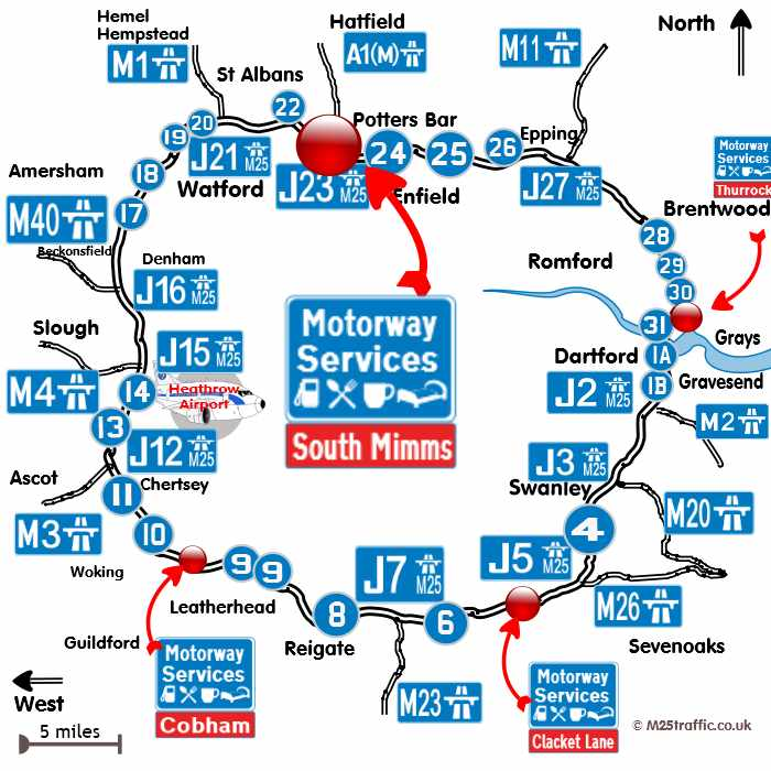 map of where south mimms services is